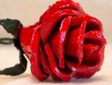 Red Painted Metal Rose